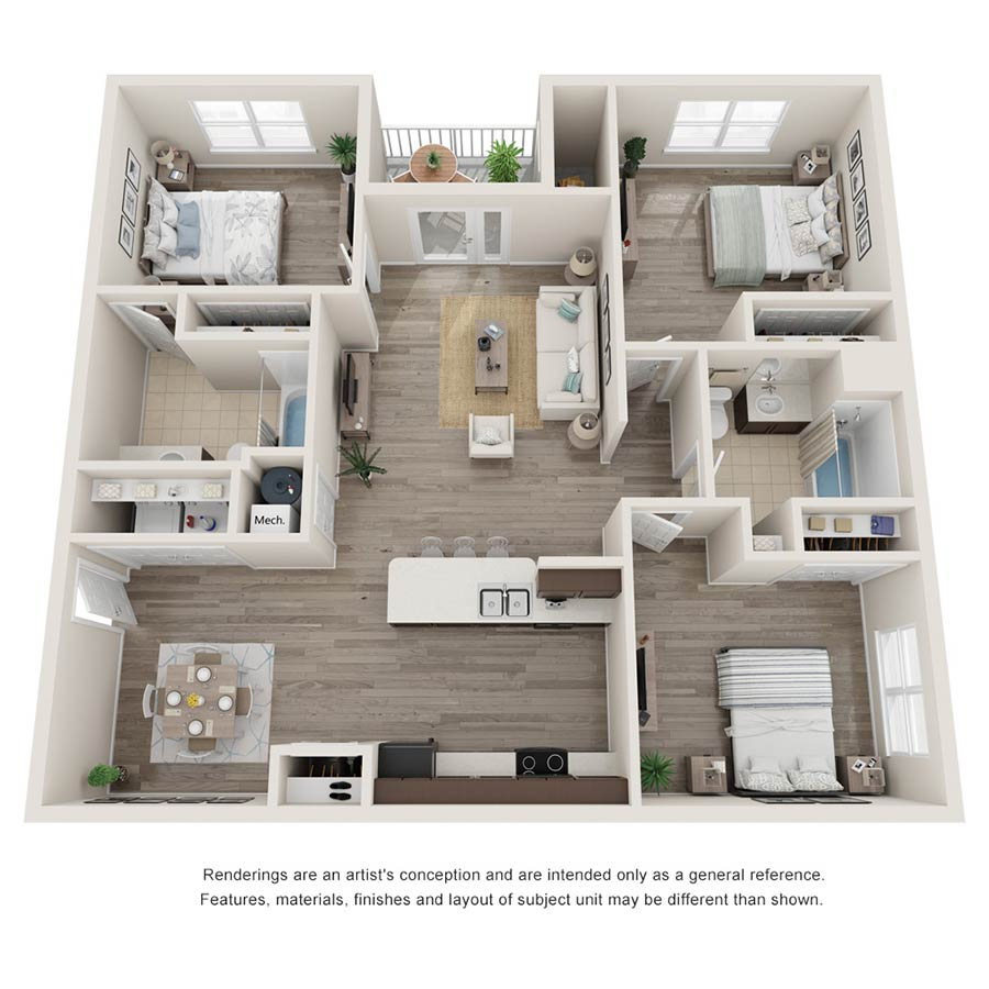 Buffalo Trail 3 Bedroom 2 Bath Apartment 1,122 square feet