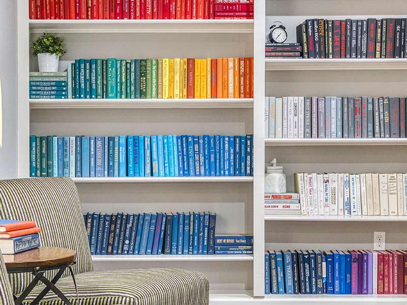 Buffalo Trail Apartments color coordinated bookshelf